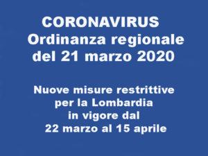 Aggiornamento Coronavirus del 22 Marzo – Disposizione Regionale
