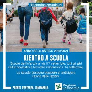 Rientro a scuola: scuole dell'infanzia 7 settembre, scuole di tutti gli ordini e gradi 14 settembre