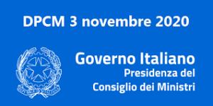 Nuovo Dpcm in vigore dal 6 novembre al 3 dicembre 2020