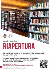 La Biblioteca Comunale di Cesate riapre lunedì 7 dicembre