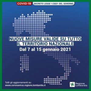 Covid-19: ultime disposizioni in vigore dal 7 al 15 gennaio