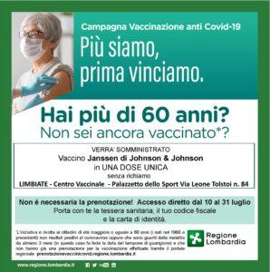 Vaccinazioni over 60 – a Limbiate senza prenotazione fino al 31 luglio